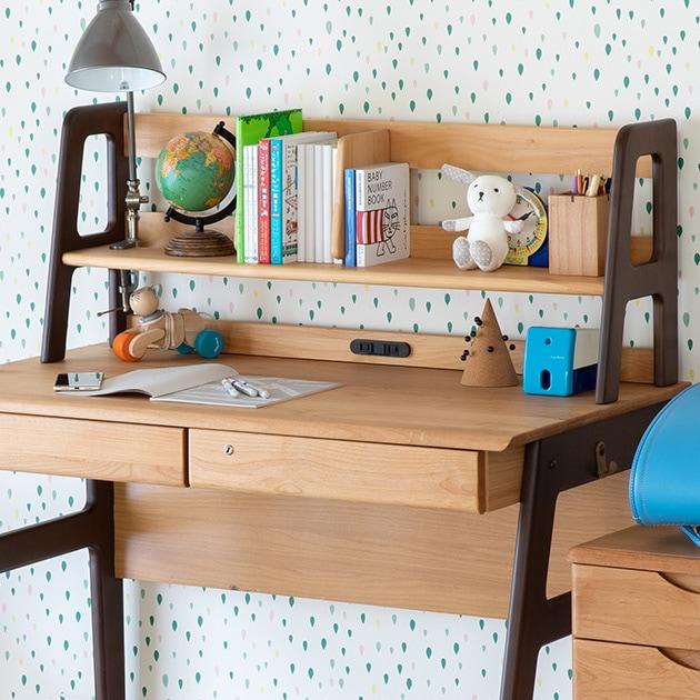 ISSEIKI 一生紀 ECRU UWADANA 99  上棚 学習机 キッズ家具 可動式仕切り板 天然木 木製 スタイリッシュ シンプル ツートンカラー 書斎