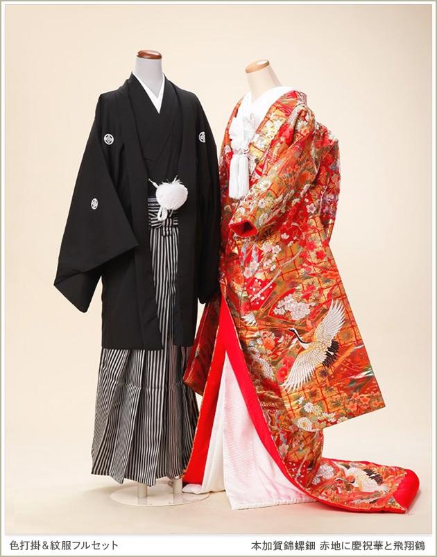 色打掛レンタル 新郎紋付セット「本加賀錦螺鈿 赤地に慶祝華と飛翔鶴」