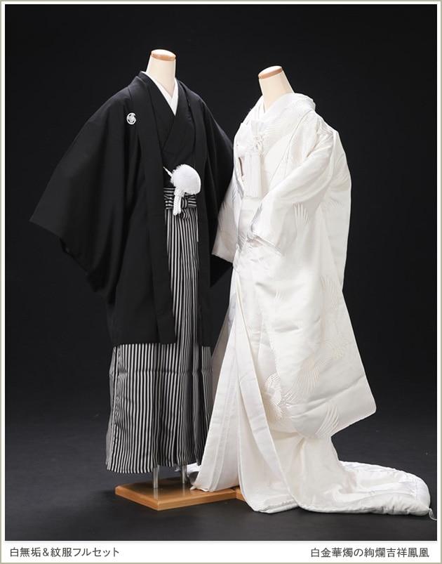 白無垢レンタル 新郎紋付セット「白金華燭の絢爛吉祥鳳凰」