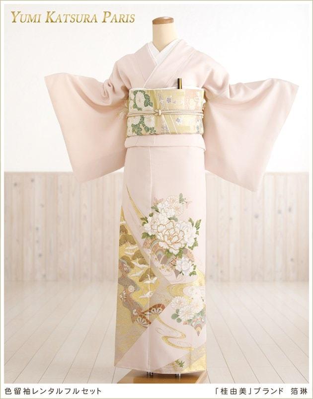 桂由美 色留袖レンタル「箔琳 ピンク」