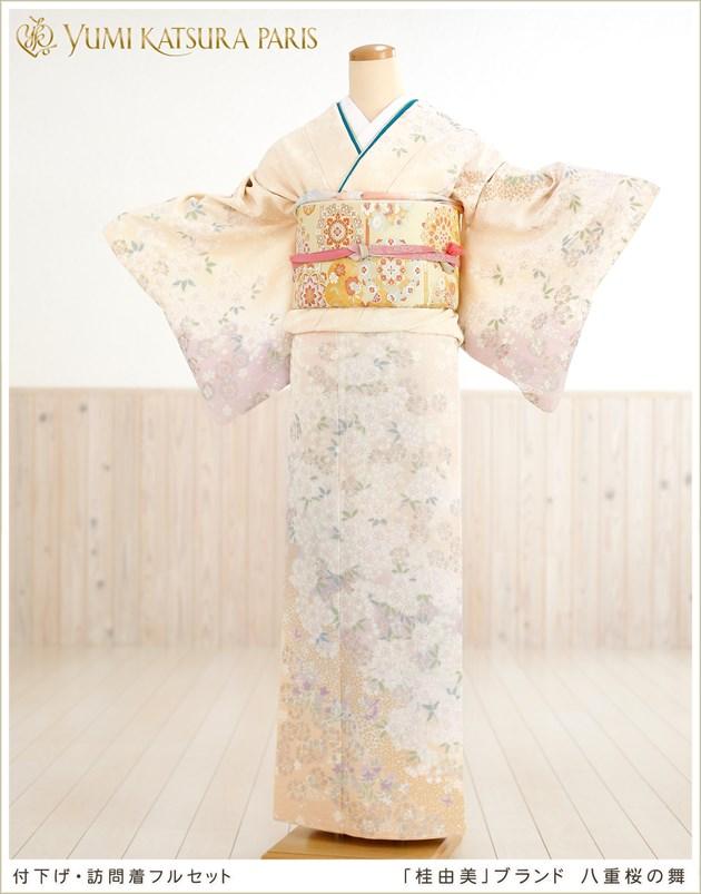 桂由美 訪問着レンタル 八重桜の舞