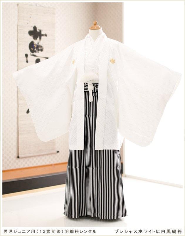 12歳前後ジュニア用 プレシャスホワイト×白黒縞袴