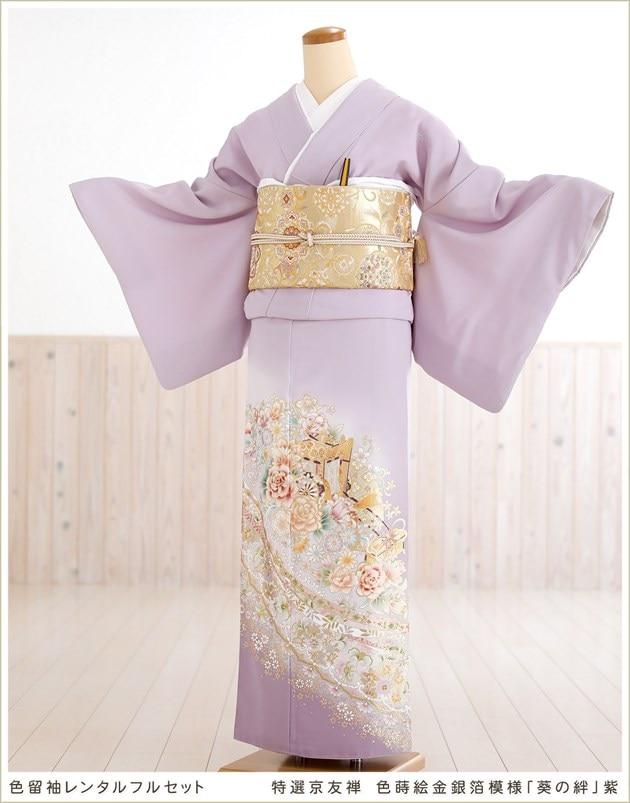 特選京友禅 色蒔絵金銀箔模様「葵の絆」紫