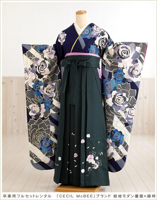 卒業袴レンタル「CECIL McBEE」ブランド 紺地モダン薔薇×緑袴