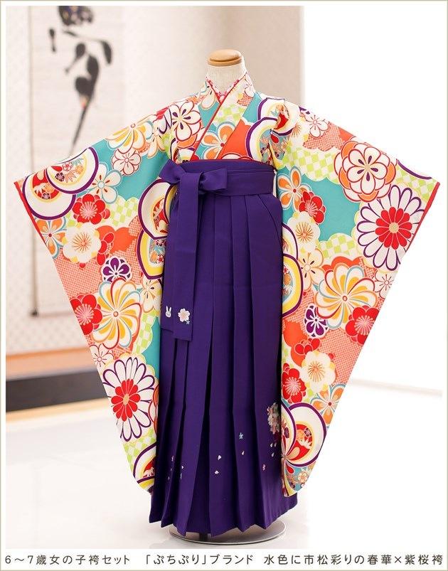 「ぷちぷり」ブランド 水色に市松彩りの春華×紫桜袴