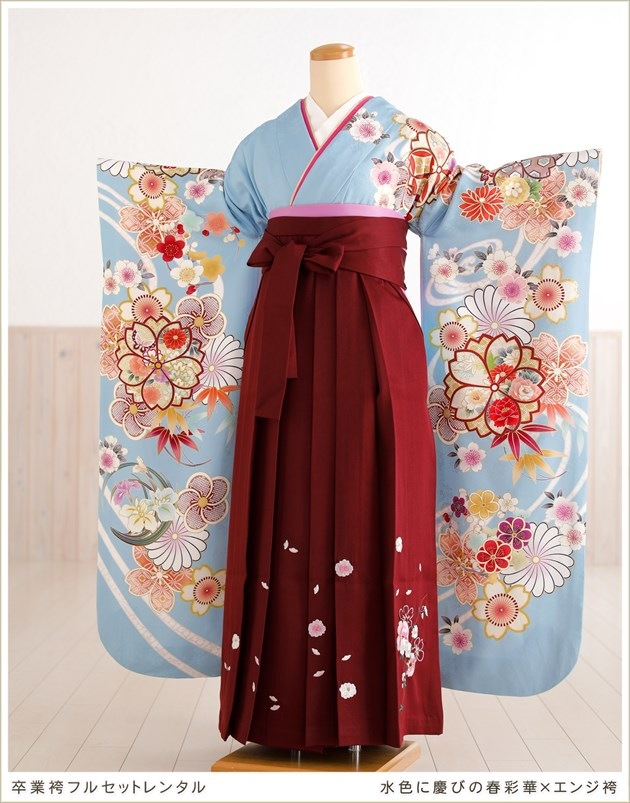 卒業袴レンタル 水色に慶びの春彩華×エンジ袴