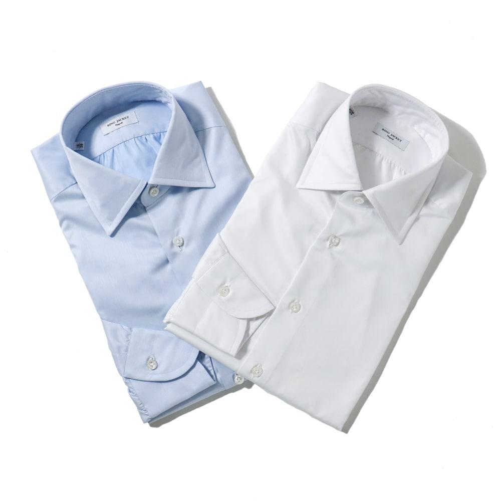 RING JACKET Napoli リングヂャケットナポリ ハンド9工程 100/2×100/2 TWILL レギュラーカラーシャツ【ブルー・ホワイト/無地】