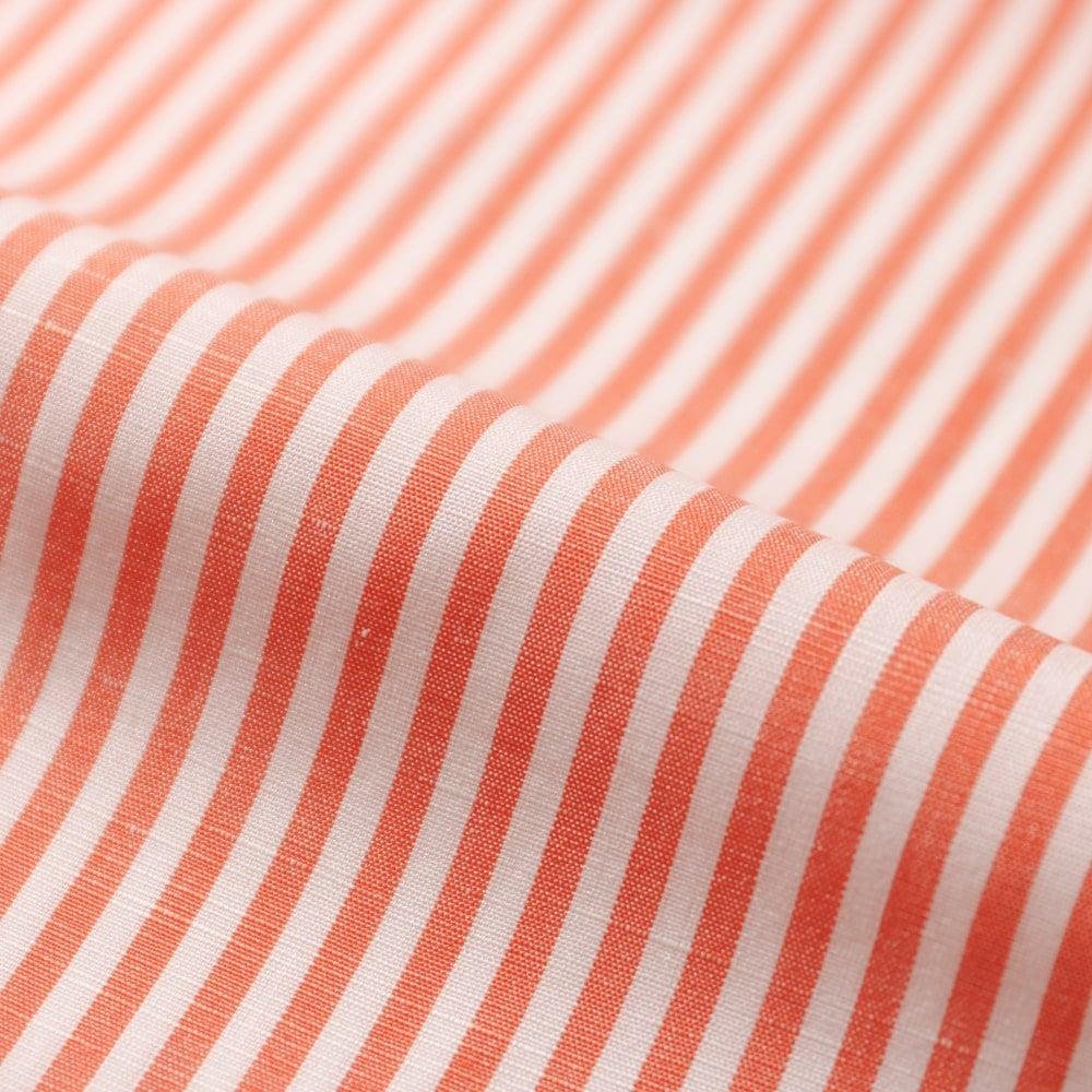 RING JACKET Napoli リングヂャケットナポリ ハンド9工程 CANCLINI コットン・リネン ヒドゥンボタンダウンワンピースカラーシャツ【オレンジ/ストライプ】