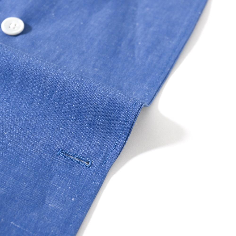 RING JACKET SUBALPINO WASHED Model NO-293 コットン・リネン4Bダブルブレステッドジャケット【ブルー/無地】