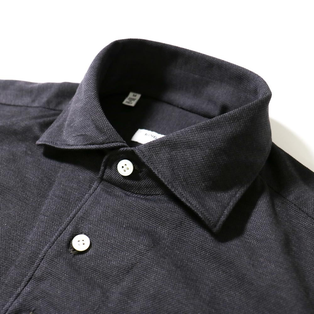 RING JACKET Napoli  ハンド8工程 セミワイドカラーコットン鹿の子ポロシャツ【グレー/無地】