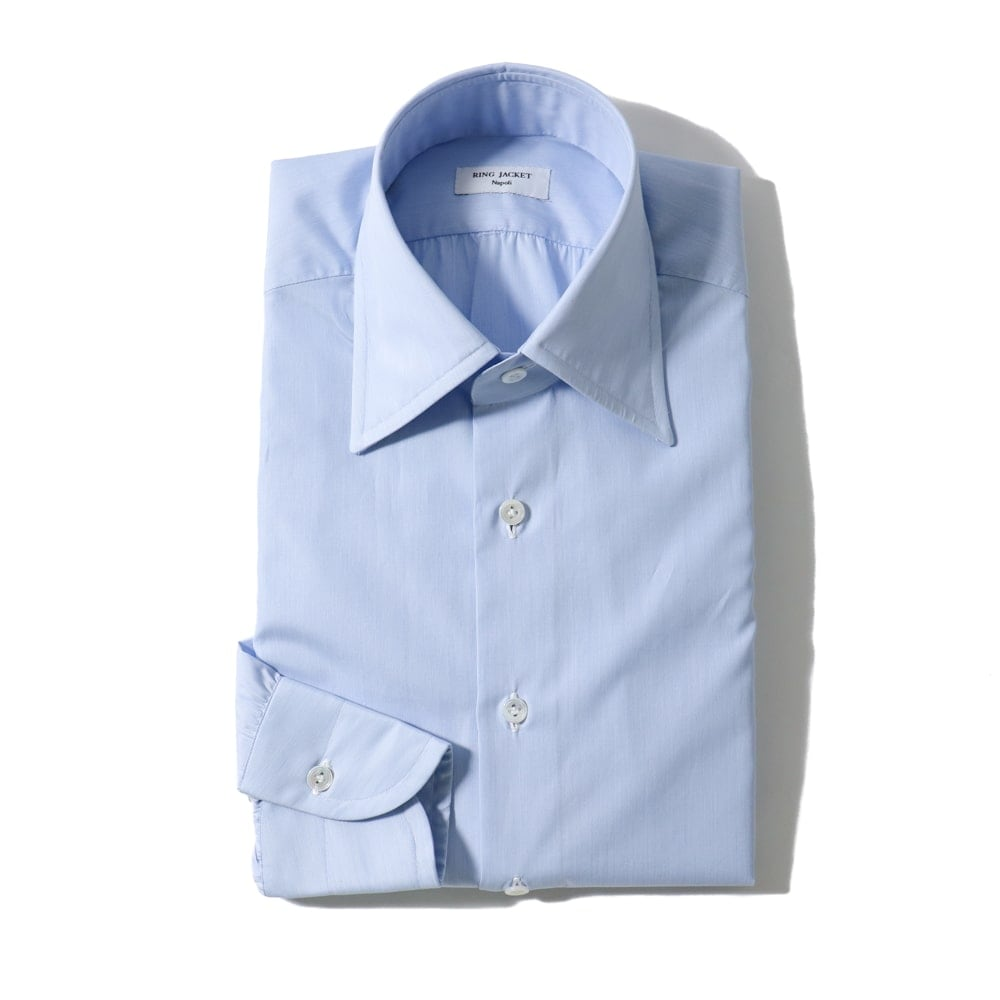 RING JACKET Napoli ハンド9工程 TOSSETI ロングポイントレギュラーカラーシャツ【ブルー/無地】
