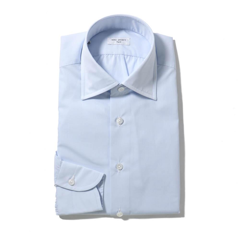 RING JACKET Napoli ハンド9工程 MILETA 120/2×120/2 BROAD レギュラーカラーシャツ【ブルー・ホワイト/無地】