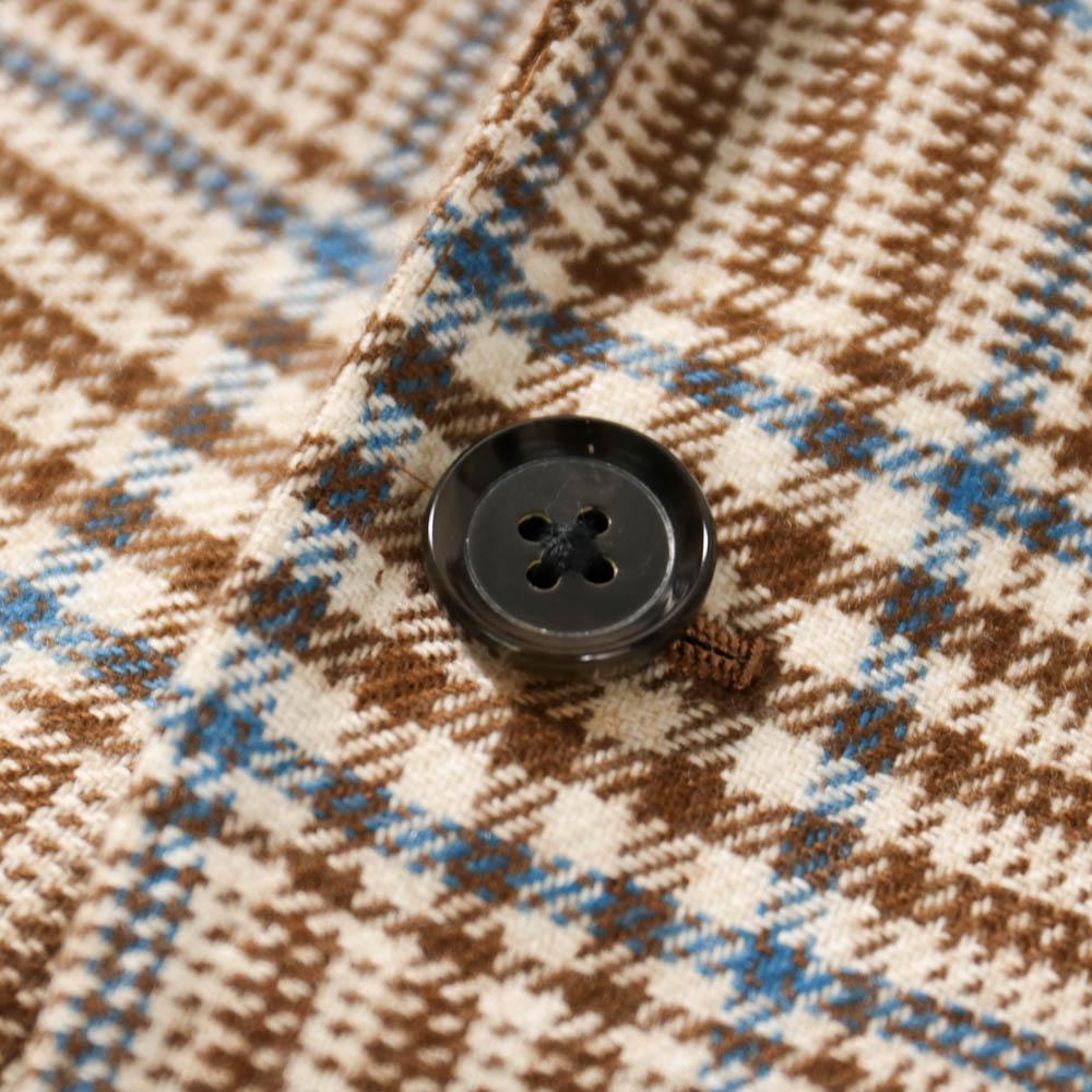 RING JACKET MEISTER CERRUTI/CASHMERE BULKY JACKET Model NO-254 カシミヤ3Bジャケット【ブラウン/チェック】