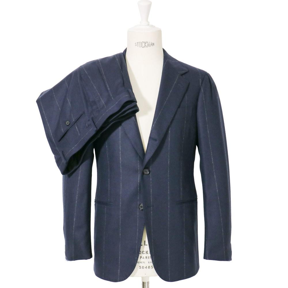 RING JACKET MEISTER FOX/SUPER FINE MERINO WOOLEN Model NO-286 S-178 3B2プリーツスーツ【ネイビー/ストライプ】