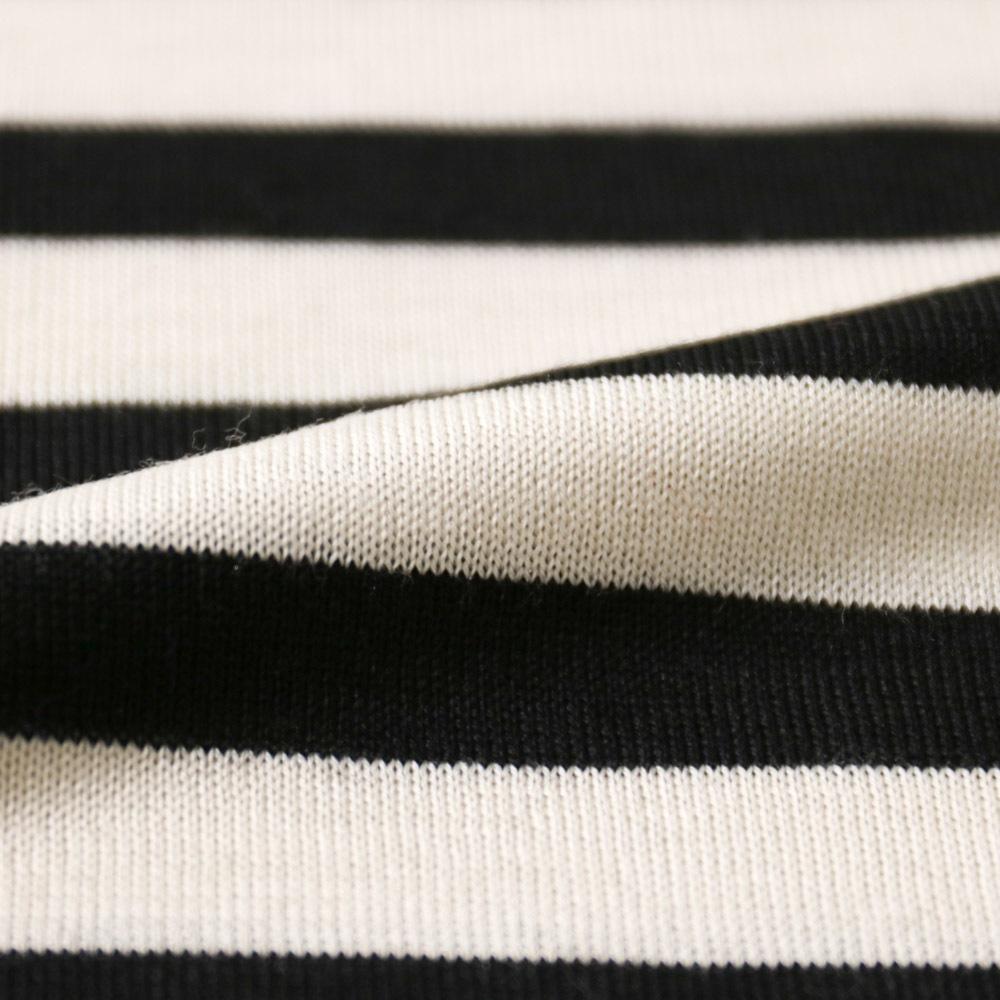 RING JACKET Napoli リングヂャケットナポリ ハイゲージ ボーダーウールクルーネックセーター【ホワイト×ブラック/ボーダー】