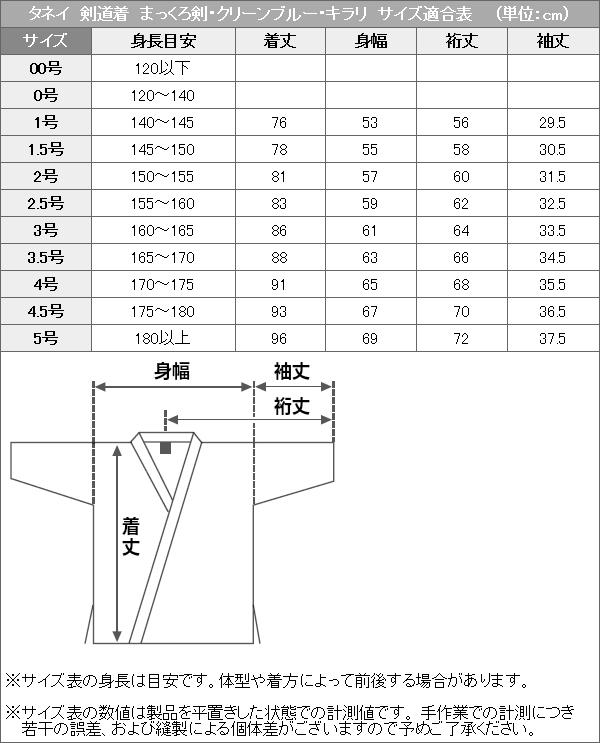タネイ剣道着 サイズ適合表