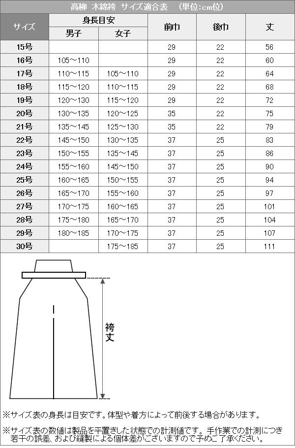 高柳剣道袴 木綿 サイズ適合表