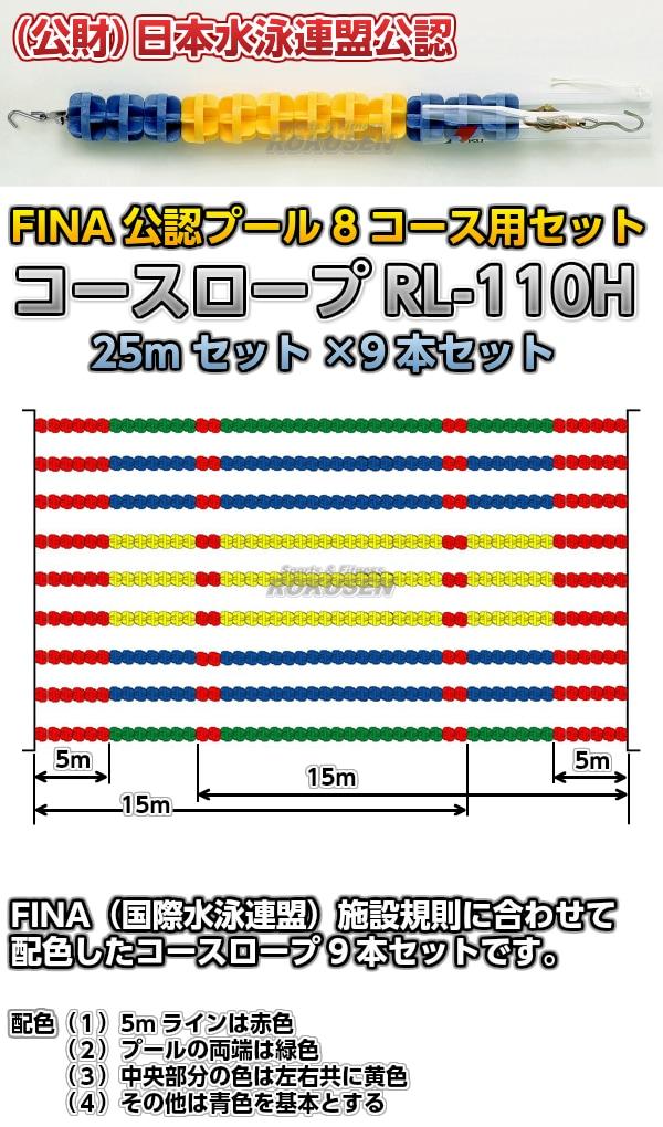 コースロープ RL-110H FINA公認プール 8コース用 25mセット×9本セット