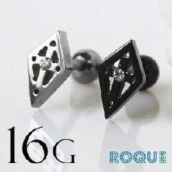 ボディピアス 16G ロゼンジデザインクロス バーベル