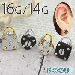 ボディピアス 16G 14G スクエア&ハート 南京錠 ストレートバーベル