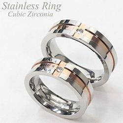 サージカルステンレスリング 指輪 ペアリング クロスラインリング キュービックジルコニア