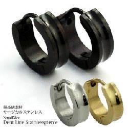 ステンレスリングピアス フープピアス Dent Line ミニサイズ(両耳用・2個セット)
