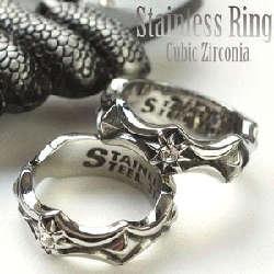 サージカルステンレスリング 指輪 メンズ シルバー スタッズ調最強デザイン キュービックジルコニア