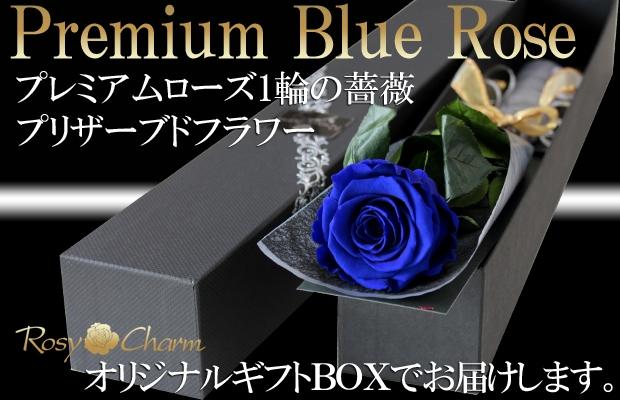 青い薔薇 1本 プリザーブドフラワー