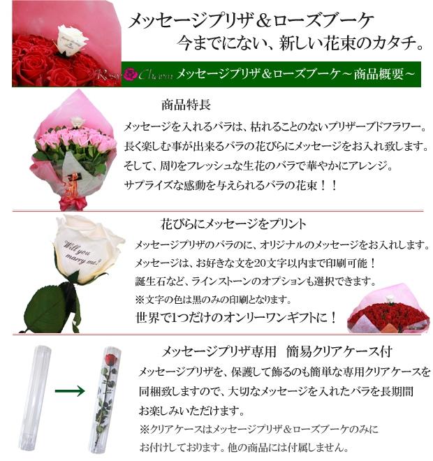 バラの花束 メッセージプリザ&ローズブーケ説明