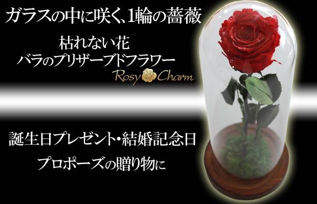 ガラスドーム 1輪の薔薇 美女と野獣