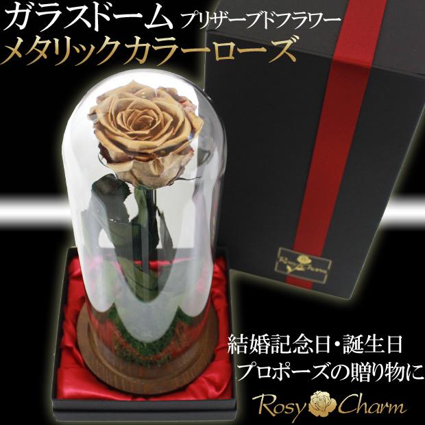 ガラスドーム 金色の薔薇1本
