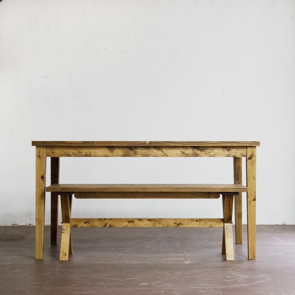 ゲイトマウスダイニングテーブル+ベンチ