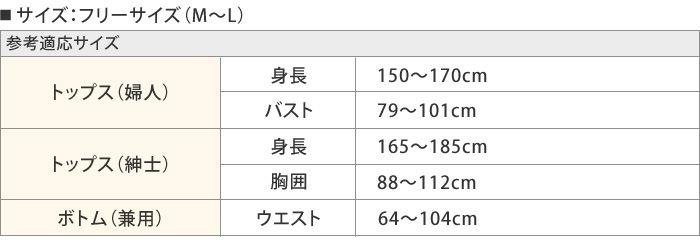 リラックスウェア(フリー)サイズ表