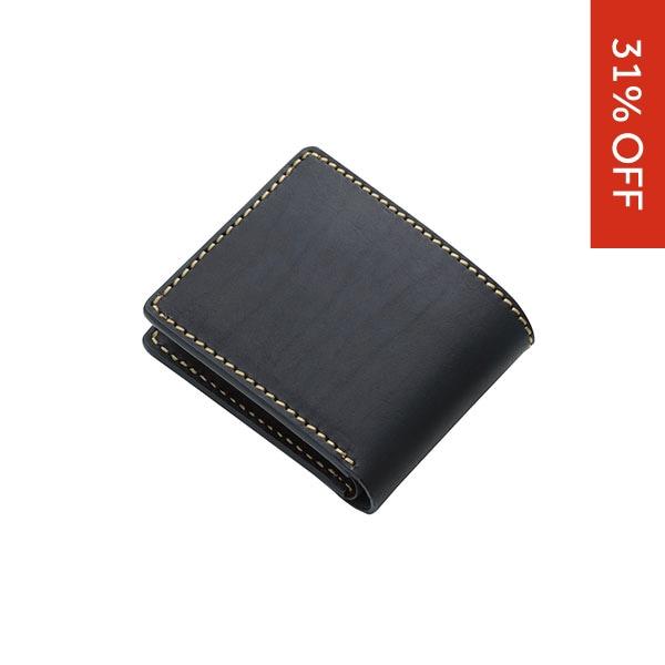 ショートウォレット/革財布 ブラック サドルレザー