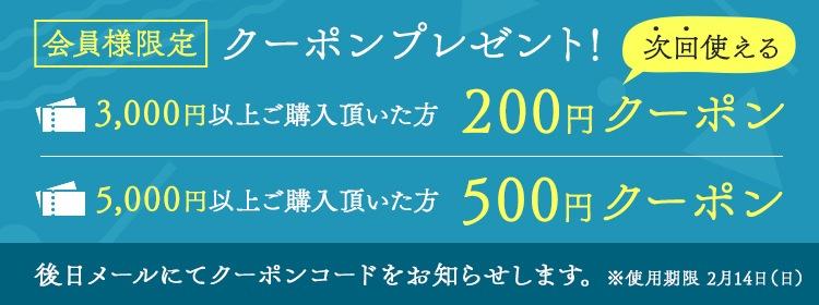 5,000円以上ご購入の会員様に500円クーポンプレゼントキャンペーン
