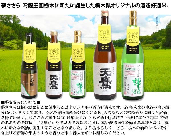 ■夢ささらについて■ 夢ささらは栃木県に新たに誕生した県オリジナルの酒造好適米です。心白(玄米の中心の白い部 分)がはっきりしており、玄米を削る際も砕けにくいため、大吟醸などの吟醸造りに向くと評価 を得ています。夢ささらの誕生は2004年開発の「とちぎ酒14」以来で、平成17年から毎年、特製 のあるものを選抜し、13年がかりで県内での栽培に適し、高い醸造適性を備える品種となり、栃 木に新たな銘酒が誕生することとなりました。より栃木らしく、さらに栃木の酒のレベルを引 き上げる新鮮な果実のような香りと米の旨味をぜひお楽しみください。