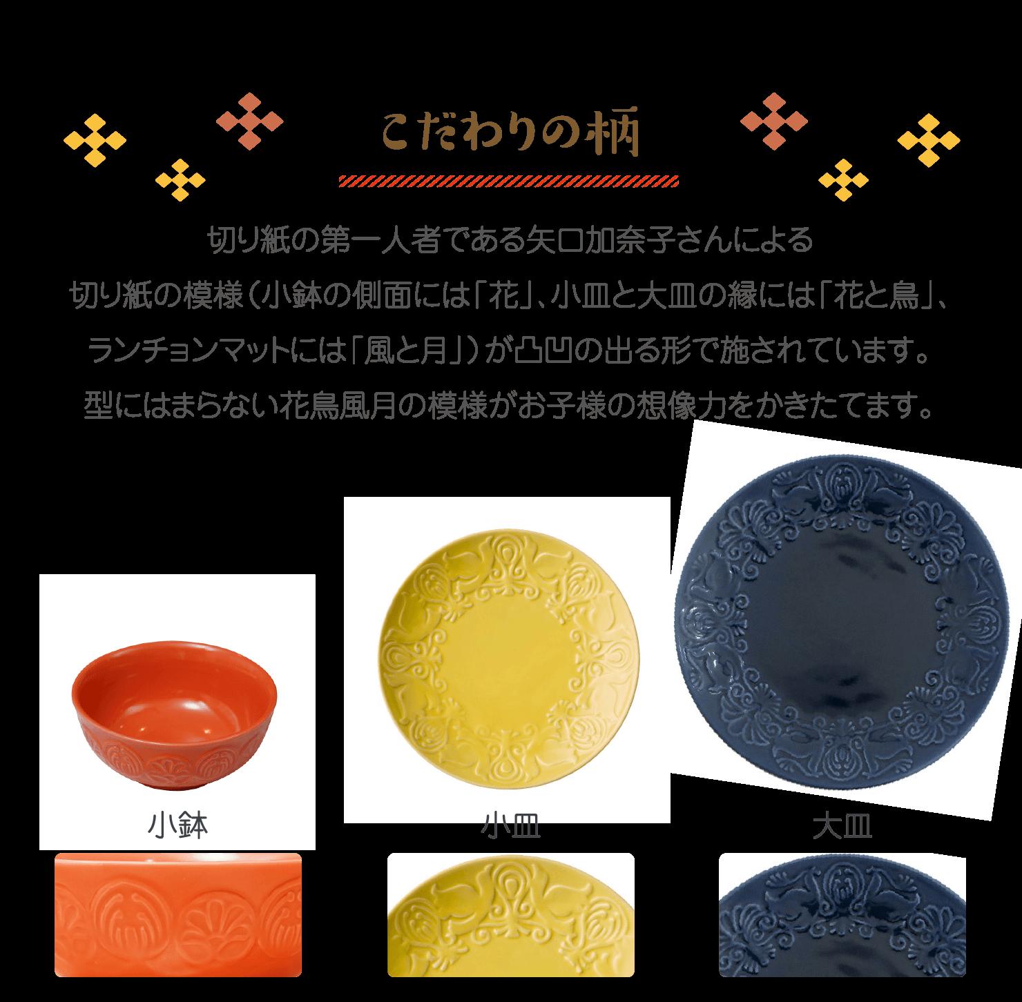 こだわりの柄 切り紙の第一人者である矢口加奈子さんによる切り紙の模様(小鉢の側面には「花」、小皿と大皿の縁には「花と鳥」、ランチョンマットには「風と月」)が凸凹の出る形で施されています。型にはまらない花鳥風月の模様がお子様の想像力をかきたてます。