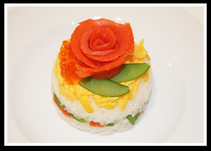 サーモンフラワーのちらし寿司ケーキ作り方