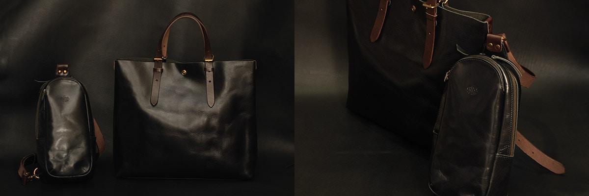 プライベートでも通勤でも使うバッグ。客先でもとても目に付く、ビジネスパーソンにとっては大事なアイテムとなります。シックに黒レザーでまとめましょう。