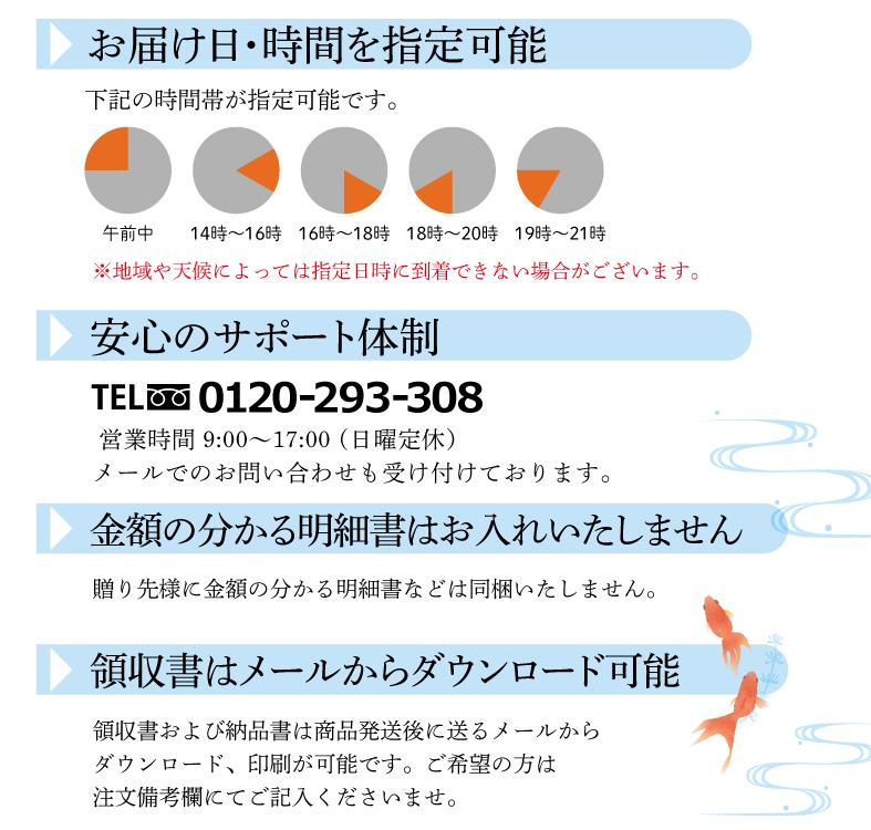�お届け日時・時間を指定可能      午前中、14:00~16:00、16:00~18:00、      18:00〜20:00、19:00〜21:00の時間帯が指定可能です。      地域や天候によっては指定日に到着できない場合がございます。      �安心のサポート体制      TEL:  0120-293-308        営業時間 9:00〜17:00 (日曜定休)      メールでのお問い合わせも受け付けております。       �金額の分かる明細書はお入れいたしません。      贈り先様に金額の分かる明細書などは同梱いたしません。      �領収書はメールからダウンロード可能      領収書および納品書は商品発送後に送るメールからダウンロード、印刷が可能です。ご希望の方は注文備考欄にてご記入くださいませ。