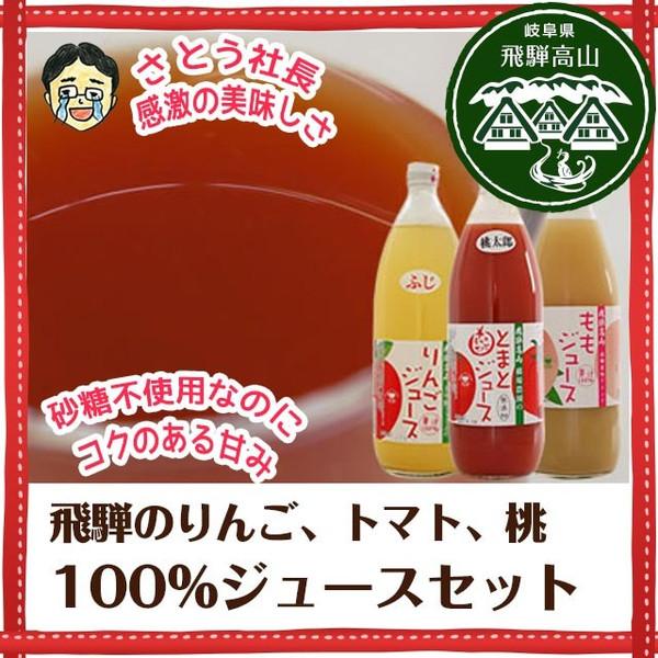 飛騨の果汁100%ジュースセット 3本入り ギフト箱入り