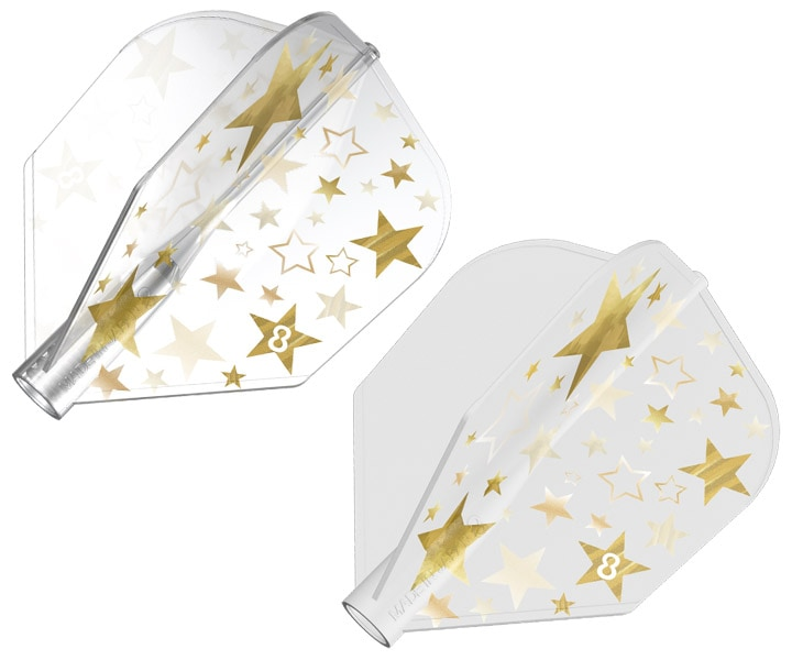DARTS FLIGHT【8FLIGHT】Gold Star Shape White