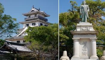 今治城(愛媛県)と今治綿業の父・矢野七三郎の銅像