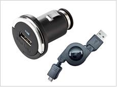 例:サンワサプライ製のシガーソケットUSB 変換コネクタ 、プラネックス製USB 充電ケーブル