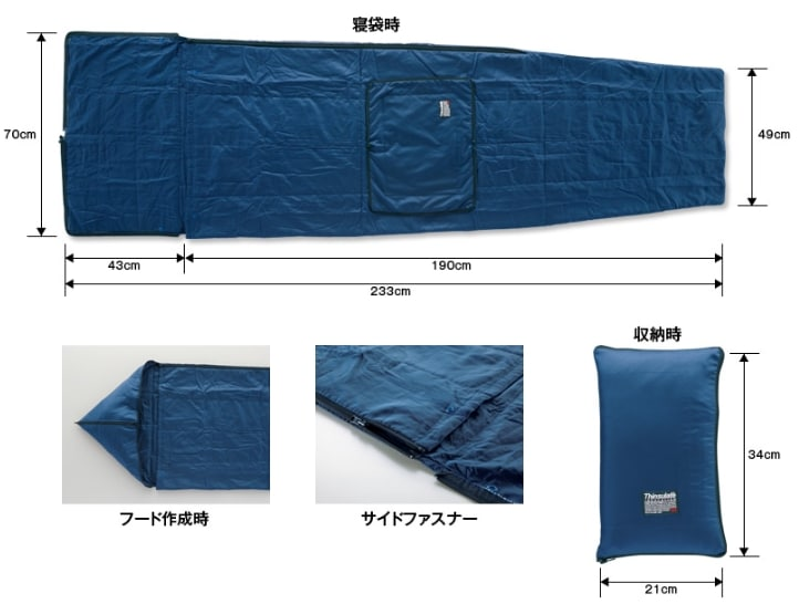 3Mシンサレート災害用スリーピングバッグ(寝袋)サイズ