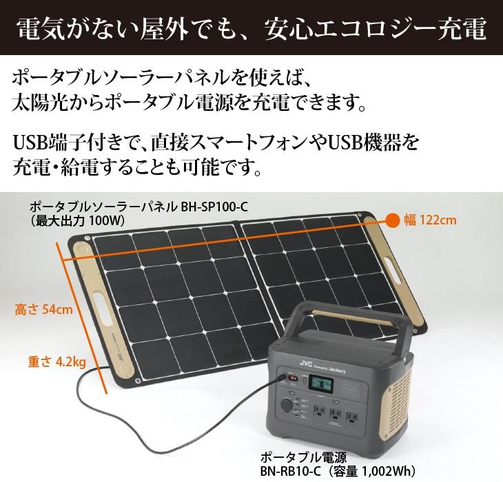 ソーラーパネルを使えば、太陽光でポータブル電源を充電。ソーラーパネル(USB端子付き)から直接スマートフォンやUSB機器を充電・給電することも可能。