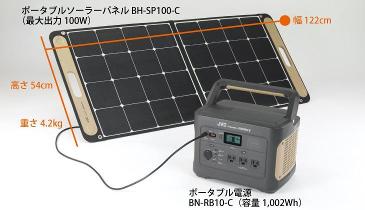 電気がない屋外でも、安心エコロジー充電。ポータブルソーラーパネルBH-SP100-C