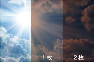 今すぐ木陰:2枚重ね、3枚重ねでガラスは暗くなりますが、紫外線や熱線の遮断効果は大きくなります。