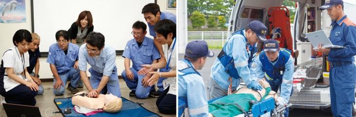 「しんのすけくん」を活用した訓練風景(消防訓練及び社内訓練)