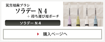 災害用歯ブラシ「ソラデーN4」+「持ち運び用ポーチ(キングジム「フラッティ」)」